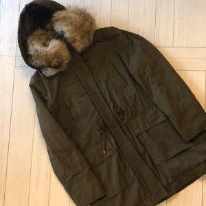ZARA TRF Fur parka fur lined neck plaid size L